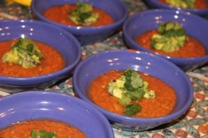 Fresh homemade gazpacho at Peaks n Swells surf camp Costa Rica