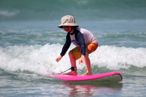 Surfing with kids.