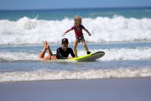 Family surf camps for learning to surf with kids.