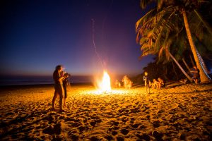 Bonfire on the beach after surfing with the family-Costa Rica!